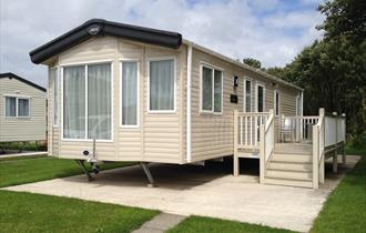 Static caravan at Knepps Farm