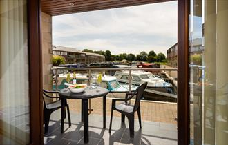 Private terrace overlooking marina