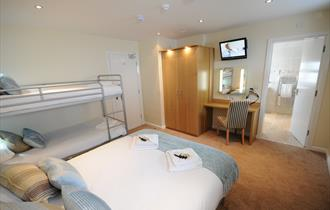En suite family bedroom at Coast Apartments, Blackpool